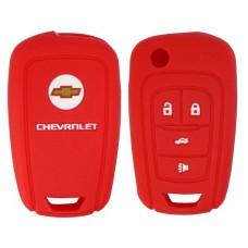 FUNDA DE SILICON PARA CONTROL CHEVROLET Camaro 4 botones con logo color Rojo