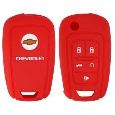 FUNDA DE SILICON PARA CONTROL CHEVROLET Camaro 5 botones con logo color Rojo