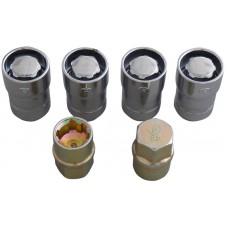 TUERCA CROMADA P/ RIN UNIVERSAL DE SEGURIDAD 14 x 1.5 mm. Incluye 4 pzas. y 2 llaves