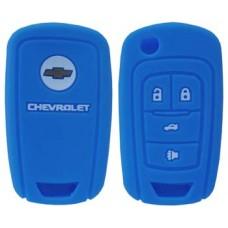 FUNDA DE SILICON PARA CONTROL CHEVROLET Camaro 4 botones con logo color Azul Marino
