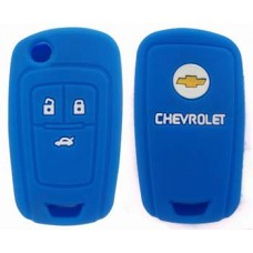 FUNDA DE SILICON PARA CONTROL CHEVROLET Cruze 3 Botones con logo Color Azul