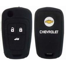 FUNDA DE SILICON PARA CONTROL CHEVROLET Cruze 3 Botones con logo Color Negro