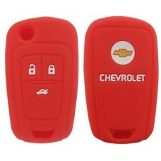 FUNDA DE SILICON PARA CONTROL CHEVROLET Cruze 3 Botones con logo Color Rojo